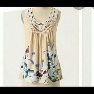 Anthropologie C Keer Floral Tank w/ Metallic Beads
